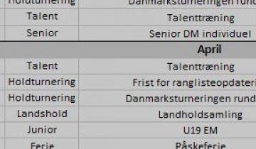 Aktivitetskalender og kampprogram for Danmarksturneringen